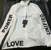 New Versace White And039love Power Unifiedand039 Long Sleeve Collar Button Shirt