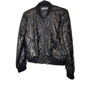 Bagatelle Full Zip Eyelet Jacket Womens Small Black Floral Round Neck Lined