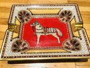 Hermes Authentic Horse Pattern Ashtray Red Used From Japan