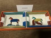 Hermes Authentic Horse Pattern Set Of 2 Mini Ashtray New Unused From Japan