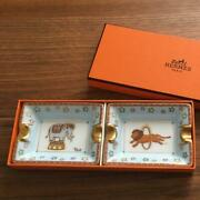 Hermes Authentic Lion And Elephant Mini Ashtray Set New Unused From Japan