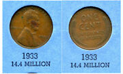 Lincoln Head Wheat Cent 1933 P Average Circulated United States 1 Penny Coin467