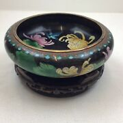 Jingfa Cloisonne Chinese Bowl With Carved Hardwood Stand Black Flowers Birds