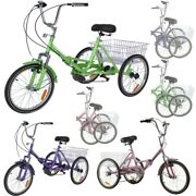 Adult Folding Tricycles 7 Speed 20 Inch 3 Wheel Trikes Andbasket +low Step-through