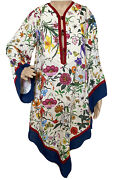 Nwt 2890 Floral Print Linen Kaftan Style Dress Size 38 Eu Made In Italy