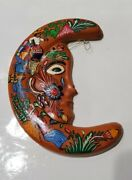 Ceramic Pottery Hand Painted Hanging Half Moon Folk Art Made In Mexico 6x3