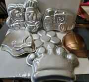 6 Wilton Cake Pans Crown Daisy Flower Bert And Ernie Tractor Football And Helmut