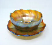 Signed Louis Comfort Glass Favrile Finger Bowl And Underplate, C. 1900
