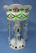 Lg. Hand-painted Bohemian Glass White Cut To Green Lustre Clear Crystal Prisms