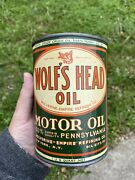 Vintage Wolfs Head Motor Oil Can Rare