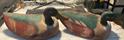Pair Of Old Wooden Hand Carved And Painted Duck Decoys Unbranded