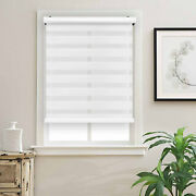 Cordless Zebra Roller Blinds Shades Sheer Or Privacy - White 20 To 72w X 72h