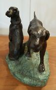 Maitland Smith 2 Tone Bronze Sculpture Hunting Dogs 472qp