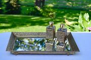 Vintage Gold Brass Vanity Perfume Mirrored Tray With Matching Perfume Bottles