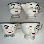 Vintage 1996 Baileys Yum Man And Woman Cups And Creamer And Sugar Bowl 4 Pc