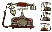 Retro Vintage Antique Style Rotary Dial Button Desk Telephone Phone Home