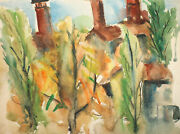1961 Watercolor Painting Impressionist Forest Landscape Signed