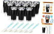 20oz Stainless Steel Insulated Tumbler Pack Bulk Travel Mug With Lid, 12 Black