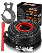 All-top Synthetic Winch Rope Cable Kit 1/2 X 92 Ft 31500lbs Winch Line With ...