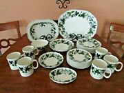 Spode Green Garland 28 Pcs Platter Fluted Dishes Salad And Bread Plates Mugs +++