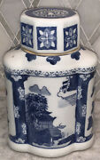 """Vtg Blue And White Chinoiserie Pagoda Tea Jar Caddy Vase 8""""t W/ Lid Signed Euc"""