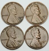 Lincoln Wheat Cent Lot Of Four Pennies 1940 S - 1942 S - 1944 S - 1946 S Cents