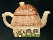 Ron Gordon Designs Thatched Roof English Country Cottage Teapot Vintage  E1