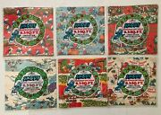 Vintage Payo Smurf Christmas Wrapping Paper 6 Packs Red White Blue