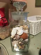 Antique Apothecary Drug Store Candy Jar Glass Ground Swirl Lid 12 Rare