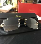 Rimless Frame With Genuine Buffalo Horn Gold Trim Glasses 100 Authentic