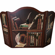 Cherry Wood Three Panel Folding Old World Study Library Office Fireplace Screen