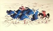 Native American Print Woody Crumbo Buffalo Hunt Signed And Numbered 474/950