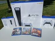 Sony Playstation 5 Ps5 Disc Console Bundle W/ 2 Controllers Rare Accessories