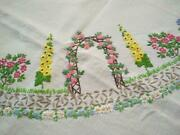 Exquisite And039fairistytchand039pink Rose Arch Garden Circle Hand Embroidered Tablecloth