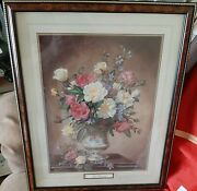 Roses In A Vase By Albert Williams Signed Framed Print 22 By 17.5
