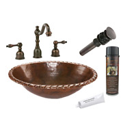 All-in-one Oval Roped Rim Self Rimming Hammered Copper Bathroom Sink In Oil Rubb