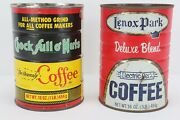 Vintage Lot Of 2 Chock Ful O' Nuts And Lenox Park Coffee Cans Tin Empty No Lids