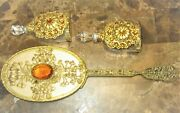Antique Brass Filigree Hand Mirror And Two Perfume Bottles