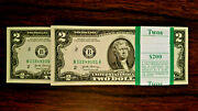 1 Bundle Usa Bills 2 X 100 Uncirculated Notes Currency Legal 2 Dollar Notes