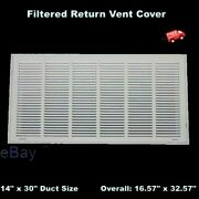 Filtered Air Return Vent Cover 14 X 30 Duct Size White Grille Wall Ceiling