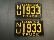 Vintage 1950 Texas Tx. Truck License Plate Set Never Mounted