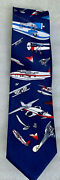 Vintage Brother's Hand Made Tie Aircrafts Air Planes 1997 Navy Blue