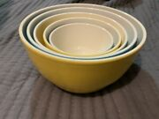 Crate And Barrel Retired Ceramic Nesting Bowl Mixing Set Blues And Yellows Set Of 5