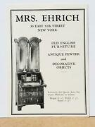 Mrs. Ehrlich Antiques 1929 Print Ad Pewter Furniture Decorative Objects Nyc