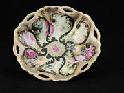 Nippon Dish Rose Moriage Beaded Scalloped Hand Painted Antique1800's Maple Leaf