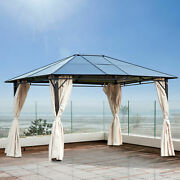 Outsunny 10and039 X 12and039 Steel Outdoor Steel Hardtop Party Gazebo Tent Canopy Cover