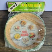 4 Woven Paper Plate Holders Natural Straw Green Rims In Original 1970s Package