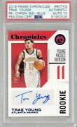 Trae Young 2018-19 Panini Chronicles Blue Ed 40/49 Psa Authentic W/10 Auto