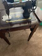 White Vintage 1920andrsquos Rotary Treadle Sewing Machine In Cabinet-w/extras-see Below