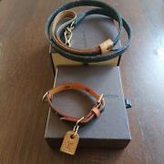 Louis Vuitton Authentic Monogram Dog Pet Collar And Lead Leash Set Used From Japan